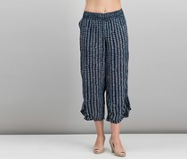 Volcom Juniors Cropped Ruffle-Detail Pants, Navy
