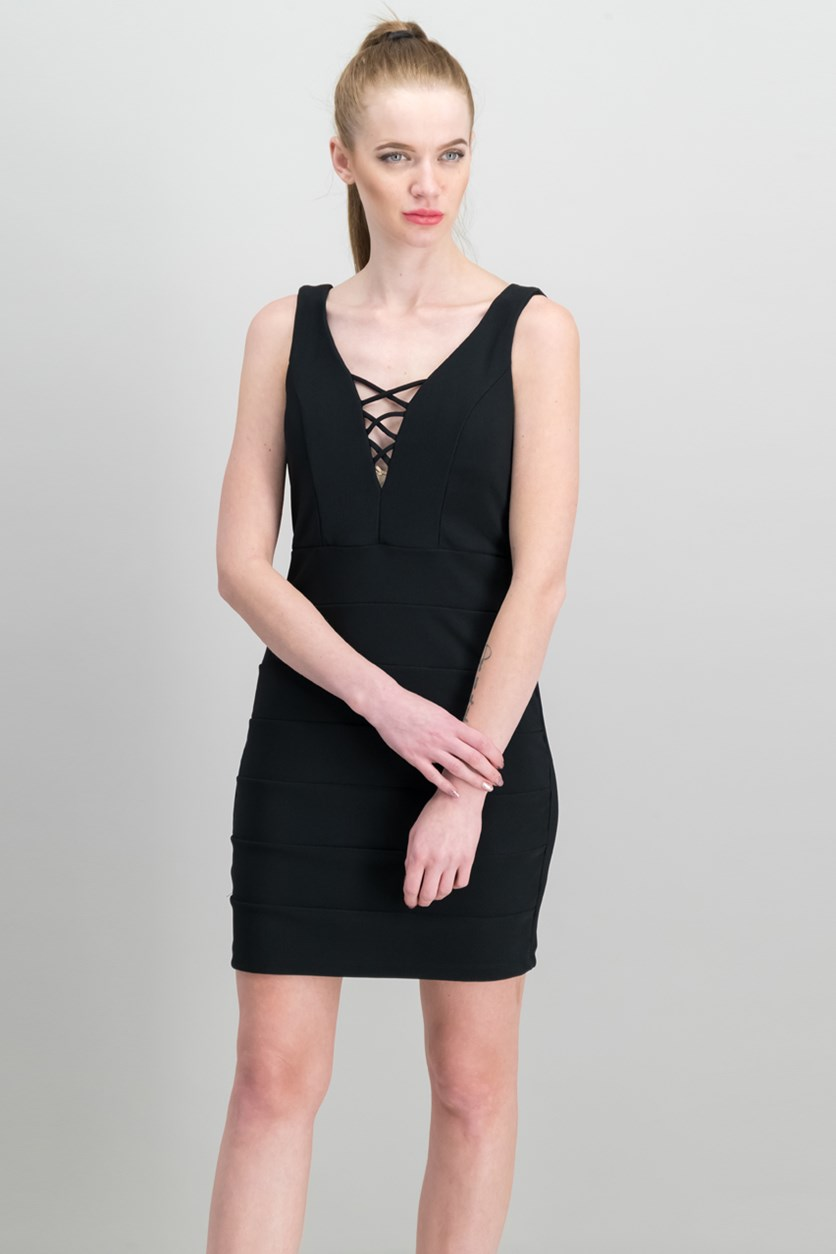 Juniors Lace-Up Banded Dress, Black