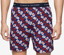 Tommy Hilfiger Men's Printed Woven Boxer, Blue Ocean