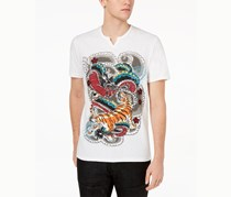 International Concepts Men's Graphic-Print Split-Neck T-Shirt, White Pure