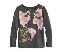 Epic Threads World Graphic-Print Shirt, Charcoal Heather