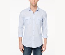 INC Men's Textured Chambray Shirt, Fresh Blue