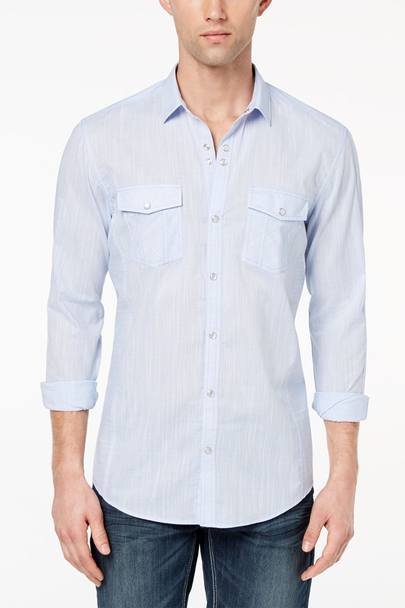 Men's Textured Chambray Shirt, Fresh Blue