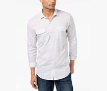 INC International Concepts Mens Textured Chambray Shirt, White Pure