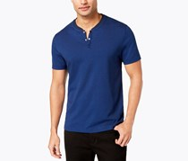Alfani Men's Birdseye Henley Shirt, Dark Side