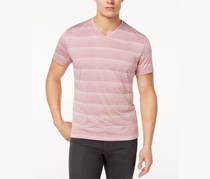 Alfani Mens Two-Tone Stripe V-Neck T-shirt, Matte Rose