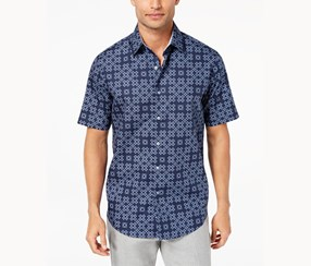 Tasso Elba Men's Plus Size Printed Button-Front  Casual Shirt, Navy Blue