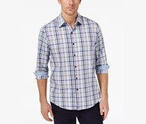Tasso Elba Mens Geometric Plaid Shirt, Blue Combo