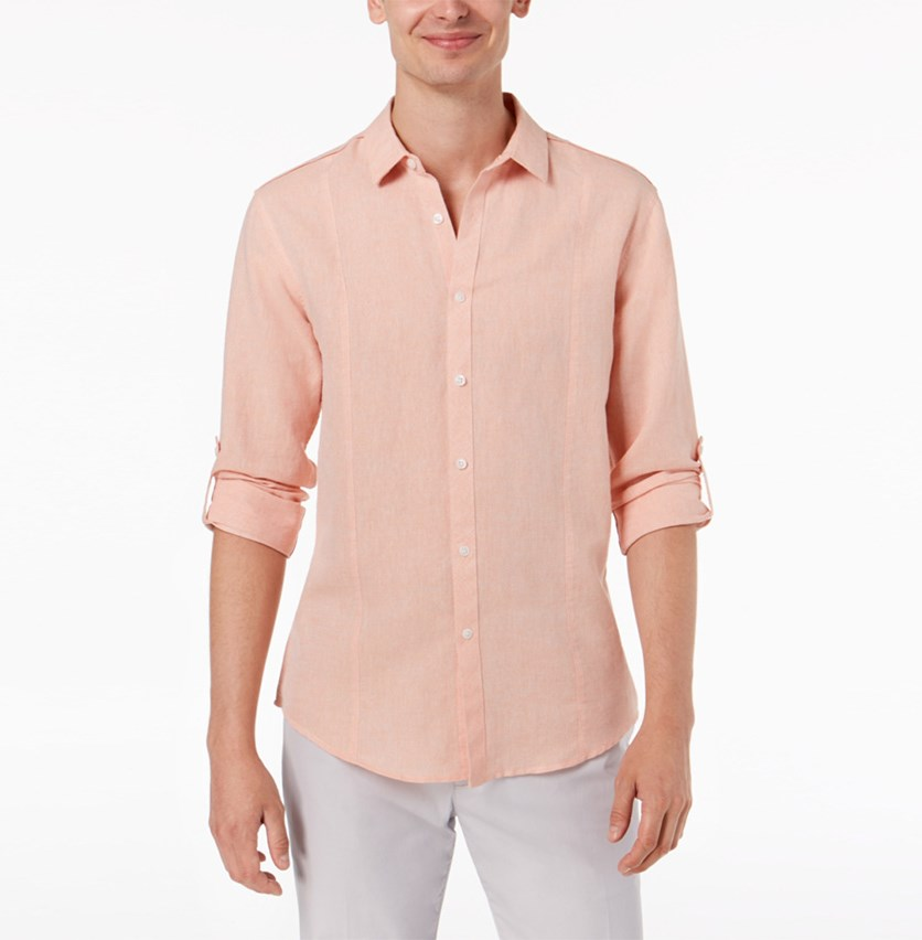 I.n.c. Men's Linen Shirt, Peach
