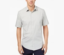 Club Room Mens Popover Striped Shirt, Brushed Alloy