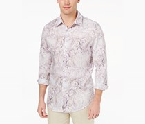 Tasso Elba Mens Faded Paisley-Print Shirt, White Combo