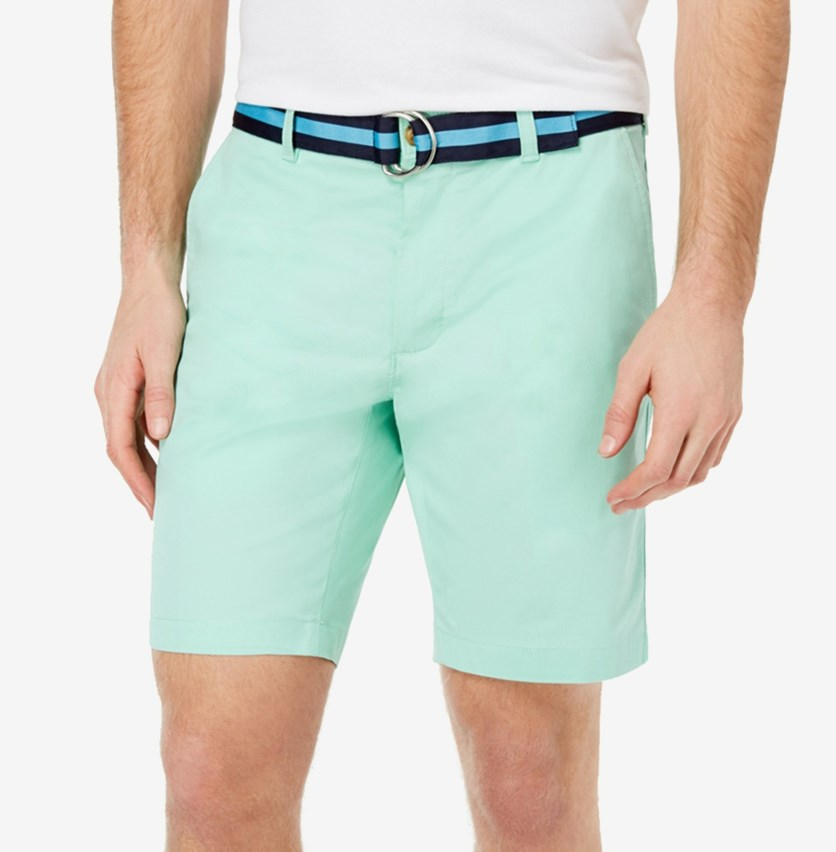 Men's Belted Classic-Fit Stretch Shorts, Garden Mint