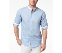INC Men's Band-Collar Shirt, Fresh Blue
