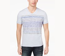 I.n.c. Men's Stripe V-Neck T-Shirt, Lavender Ice