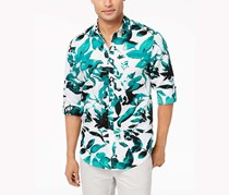 Inc International Concepts Men's Abstract Floral Shirt, Green/white