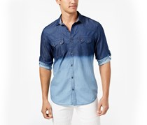 INC Men's Dip-Dyed Denim Shirt, Basic Navy