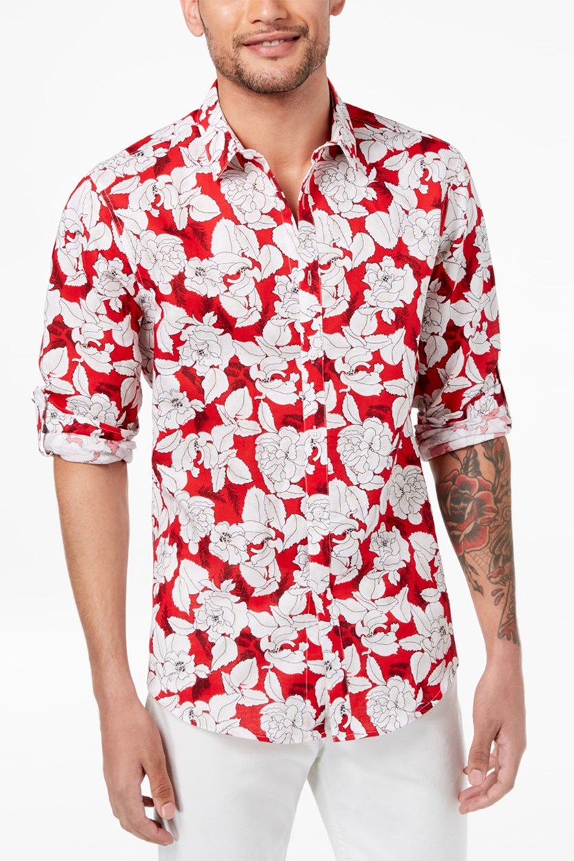International Concepts Mens Floral-Print Shirt, Red Combo