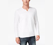 INC International Concepts Mens Split-Neck Striped Shirt, White Pure