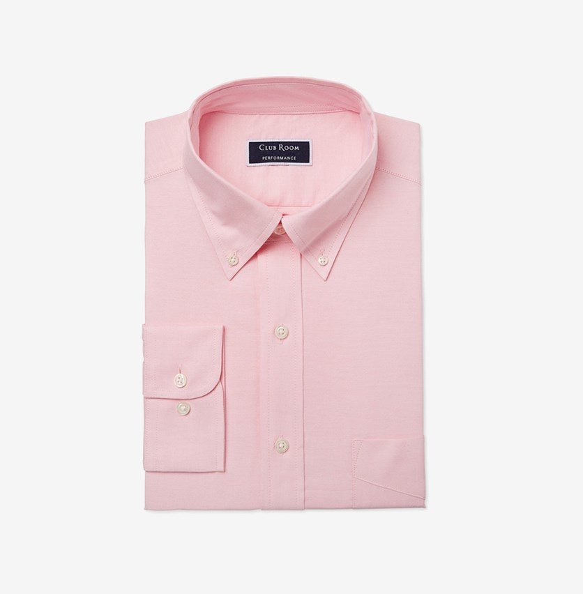Men's Regular Fit Oxford Solid Dress Shirt, Pink