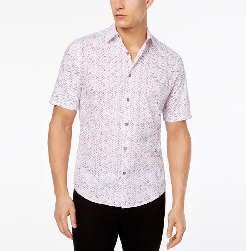 Men's Painted Herringbone Print Shirt, Vintage Plum