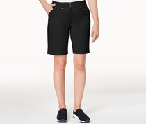 Ribbed-Waist Utility Shorts, Deep Black