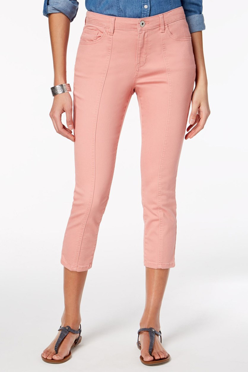 Style Co Front-Seam Capri Jeans, Brushed Rose