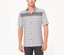 Alfani Men's Gradient Stripe Shirt, Deep Black/White