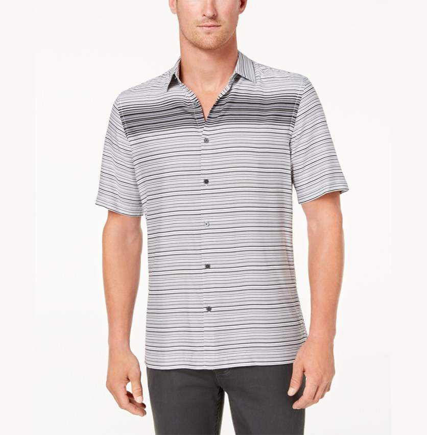 Men's Gradient Stripe Shirt, Deep Black/White