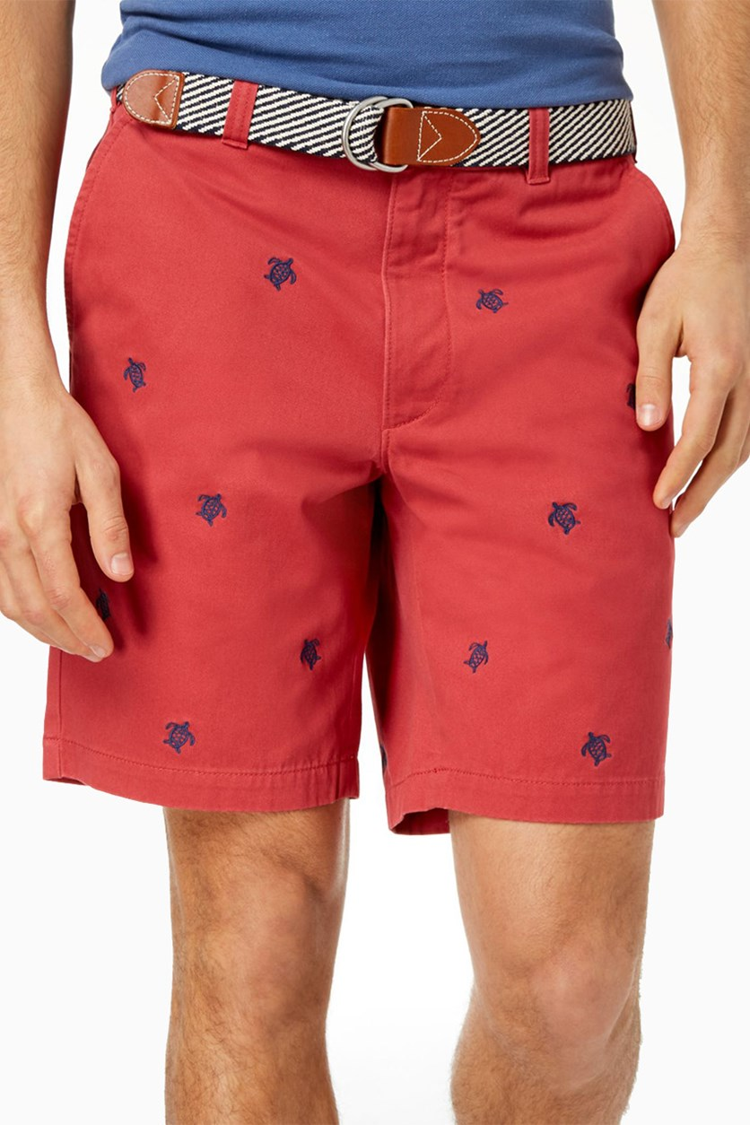Club Room Mens Embroidered Short, Tomato Red