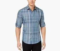 Alfani Mens Jacobs Plaid Cotton Shirt, Nightscape