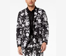 INC International Concepts Mens Slim-Fit Floral-Print Blazer, Black Combo