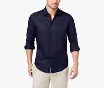 Tasso Elba Men's Linen Shirt, Navy