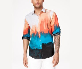 INC Men's Tie Dyed Button Down Shirt, Coral Combo