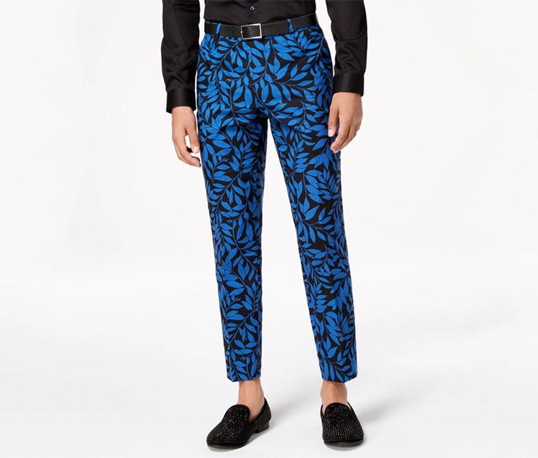 Men's Slim-Fit Leaf-Print Pants, Blue/Black