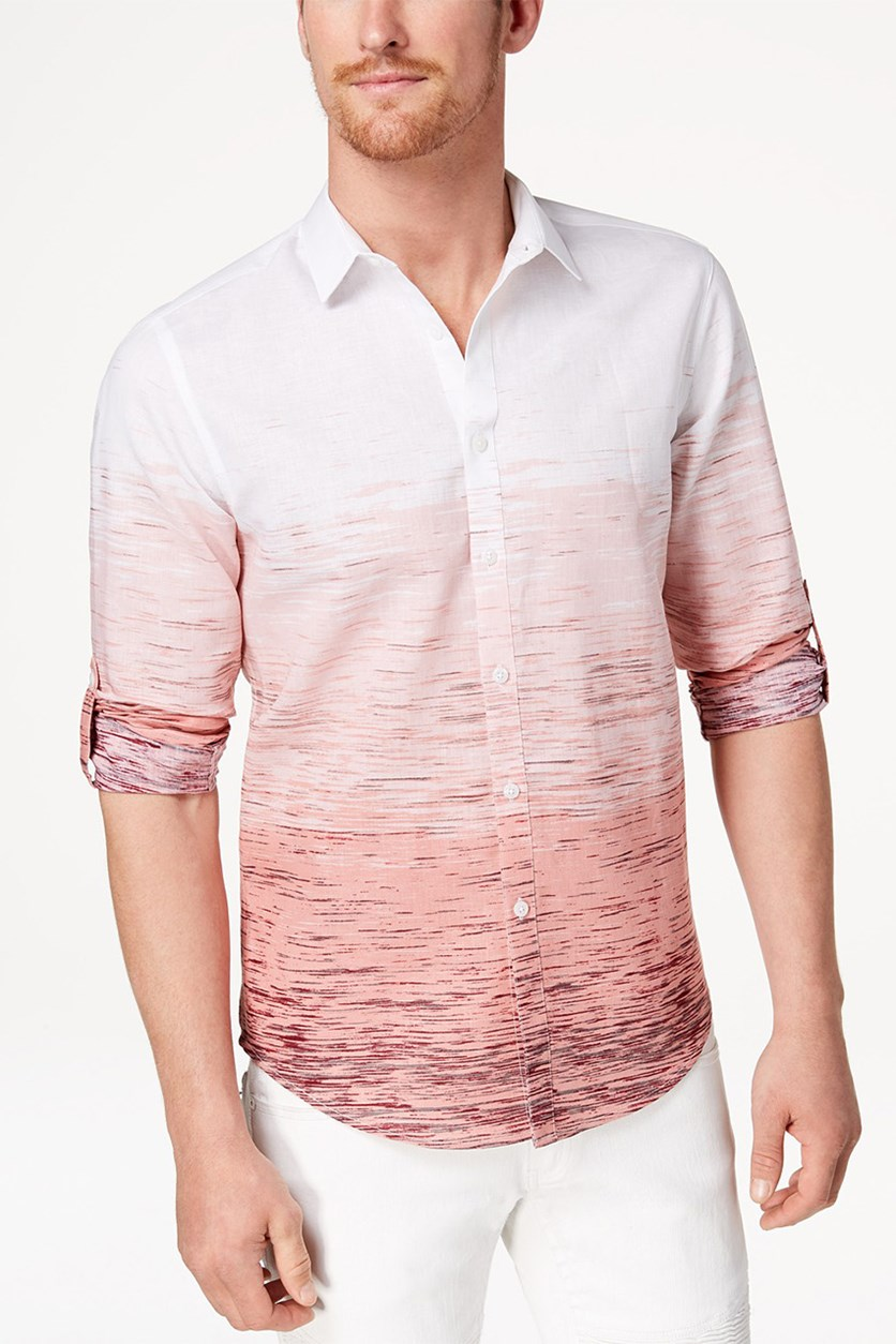 Men's Ombre Shirt, Coral Combo