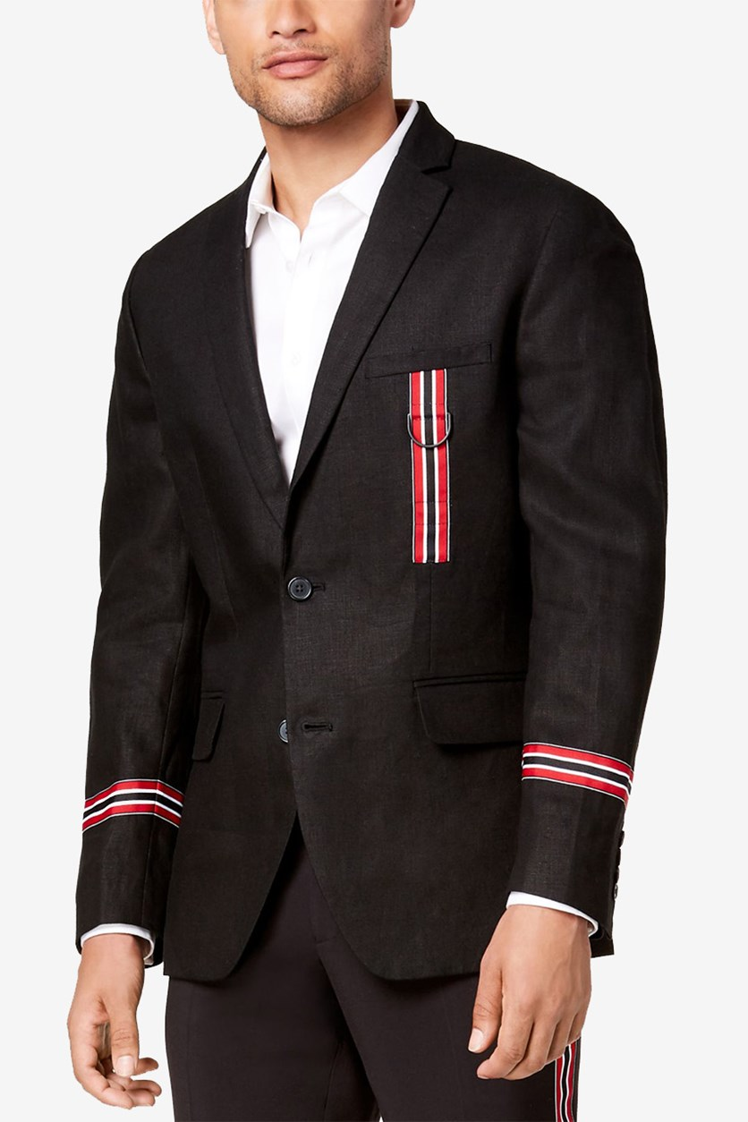 International Concepts Mens Slim-Fit Track Star Blazer, Deep Black