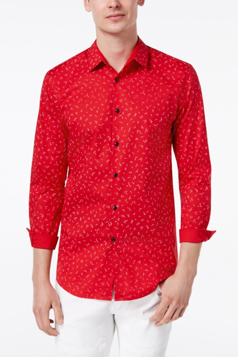International Concepts Men's Slim Fit Wheat-Print Shirt, Red Combo