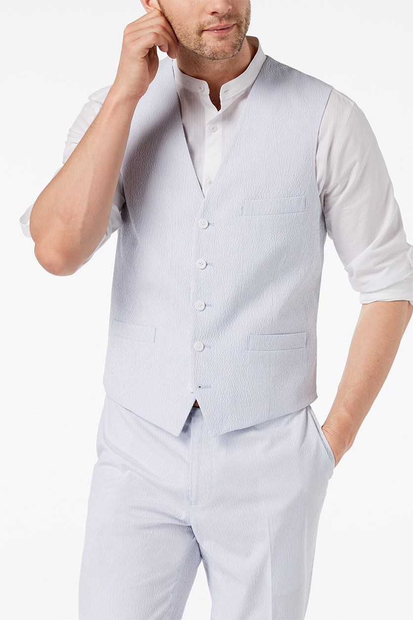 Men's Slim-Fit Seersucker Vest, Light Blue