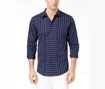 INC International Concepts Mens Striped Regular-Fit Shirt, Navy Combo
