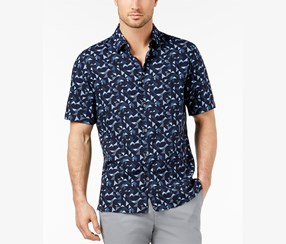Alfani Men's Geo-Print Shirt, Ink