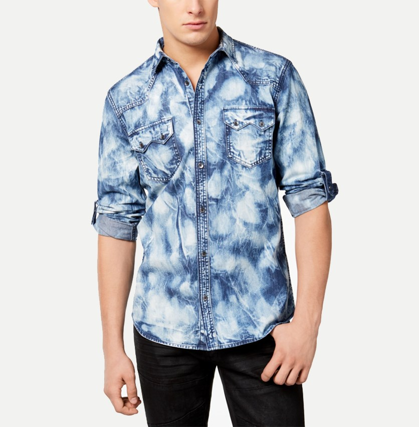 International Concepts Mens Denim Shirt, Basic Navy