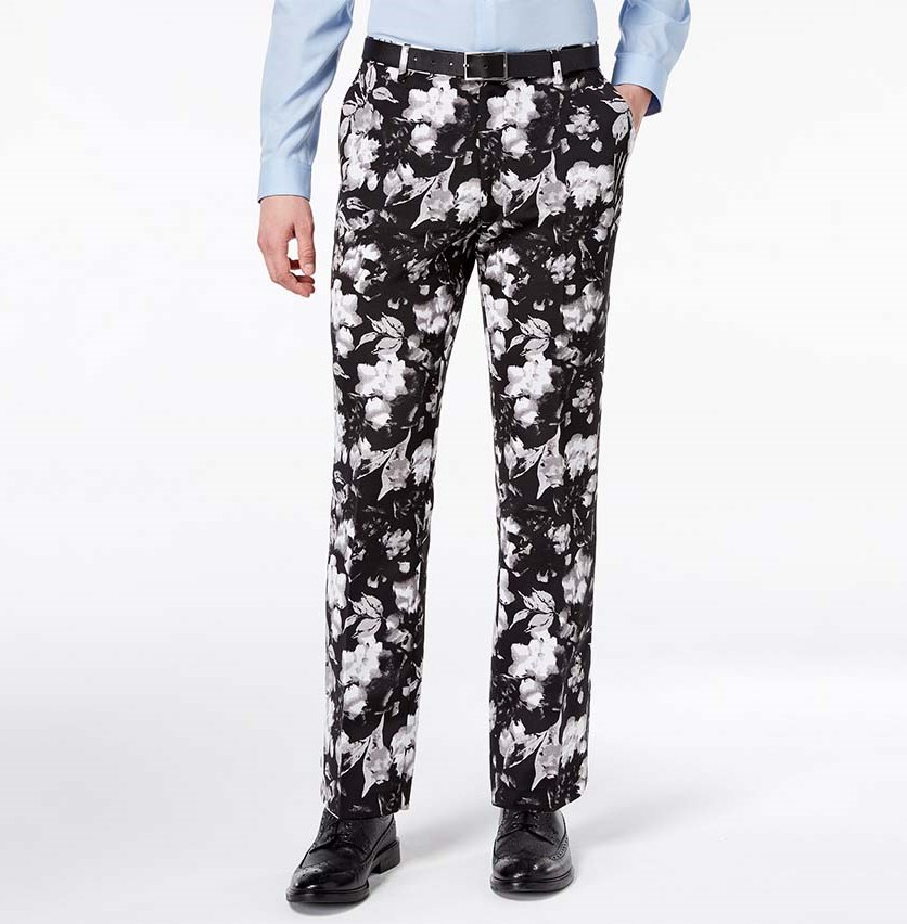 Men's Slim-Fit Ottoman Floral-Print Pants, Black Combo