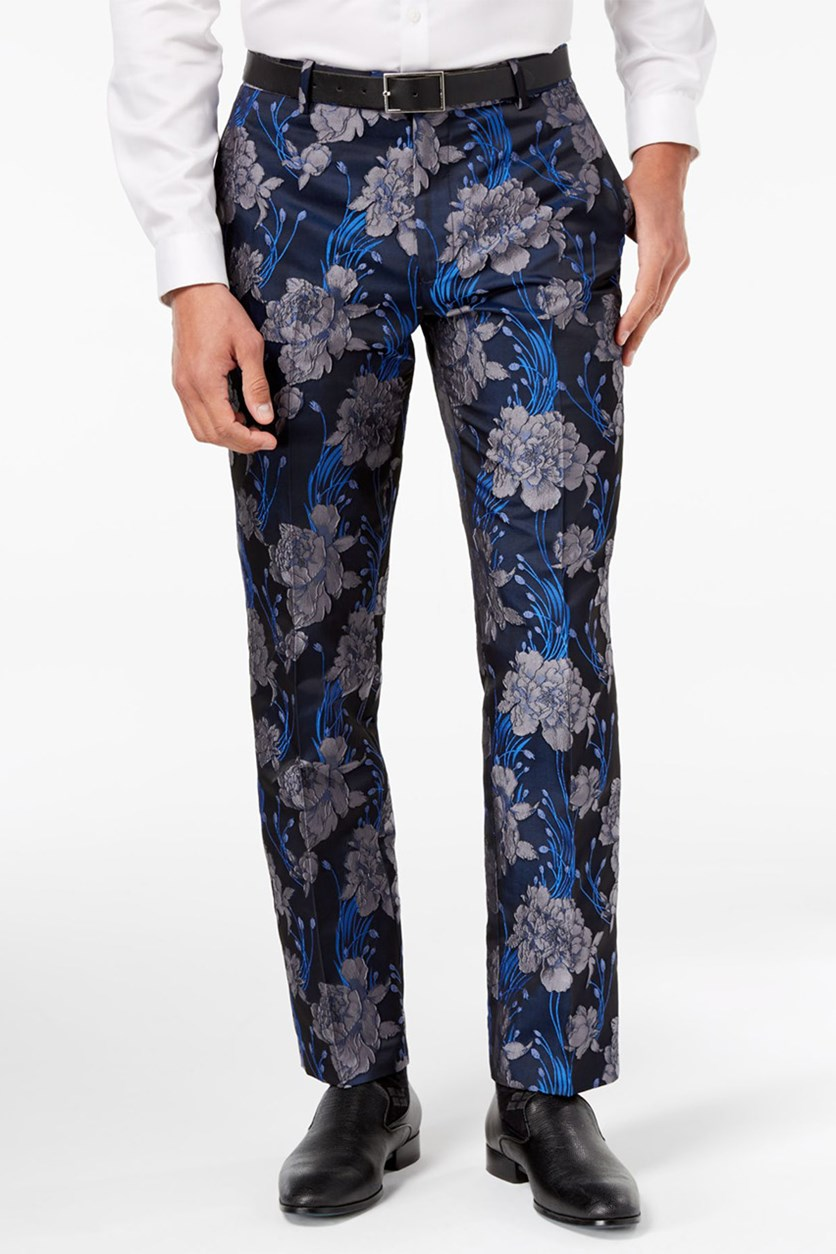 International Concepts Mens Slim-Fit Brocade Pants, Navy Combo