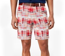 Club Room Men's 9 Madras Shorts, Red Combo