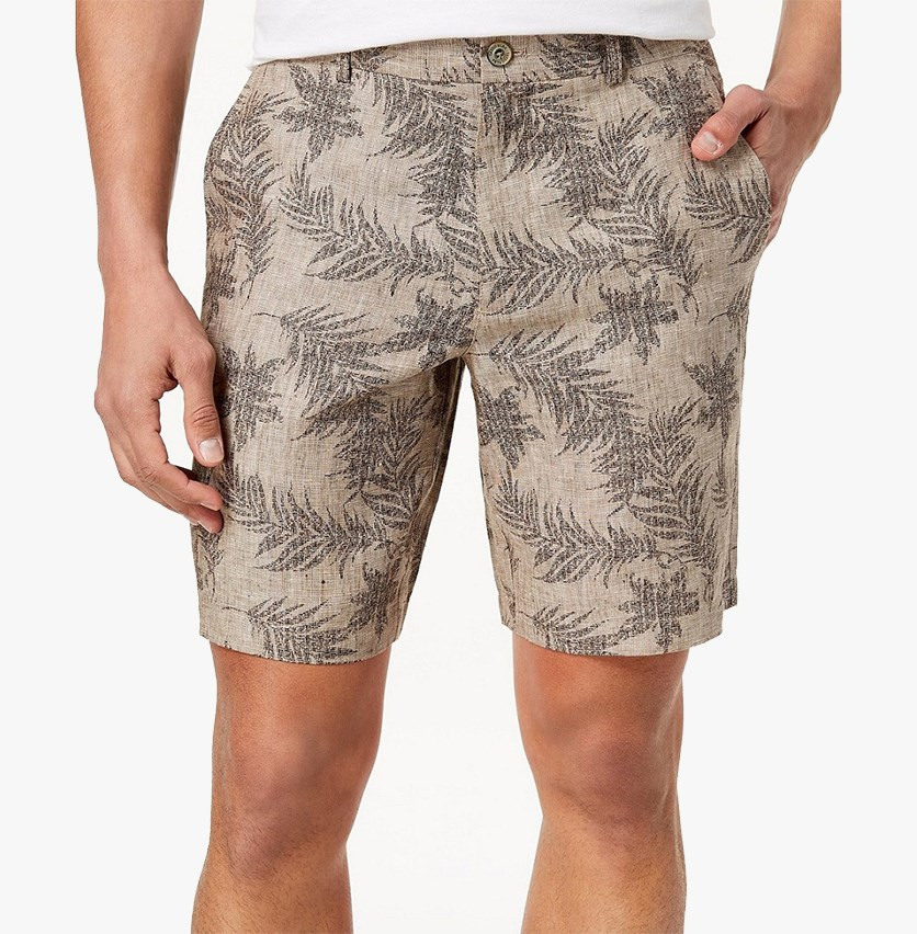 Men's Fern-Print Linen Shorts, Sable