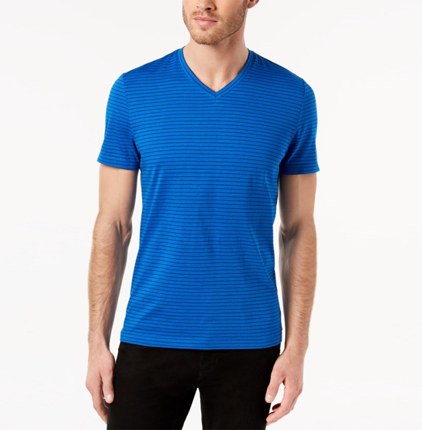 Mens Space-Dyed Stripe V-Neck T-Shirt, Sparkling Blue