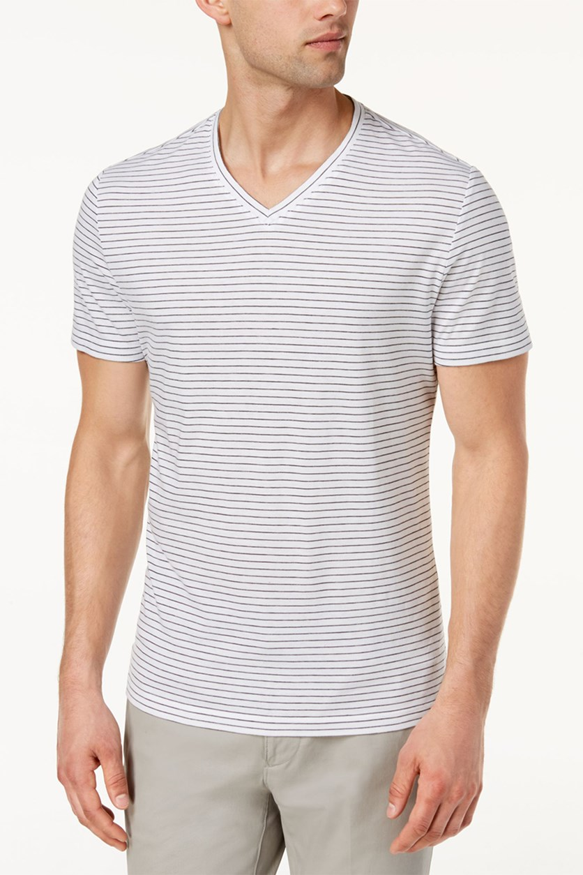 Men's Space-Dyed Stripe V-Neck T-Shirt, Bright White