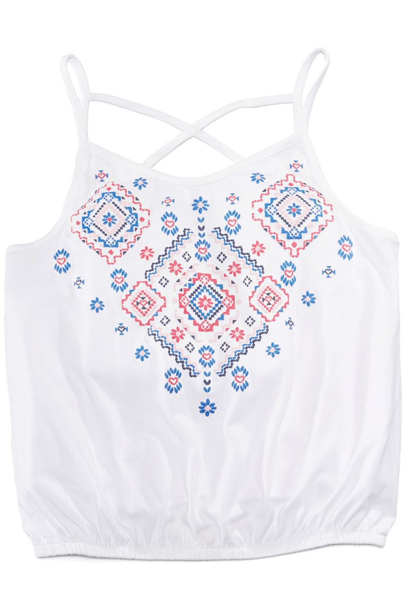 Embroidered Tank Top, Bright White