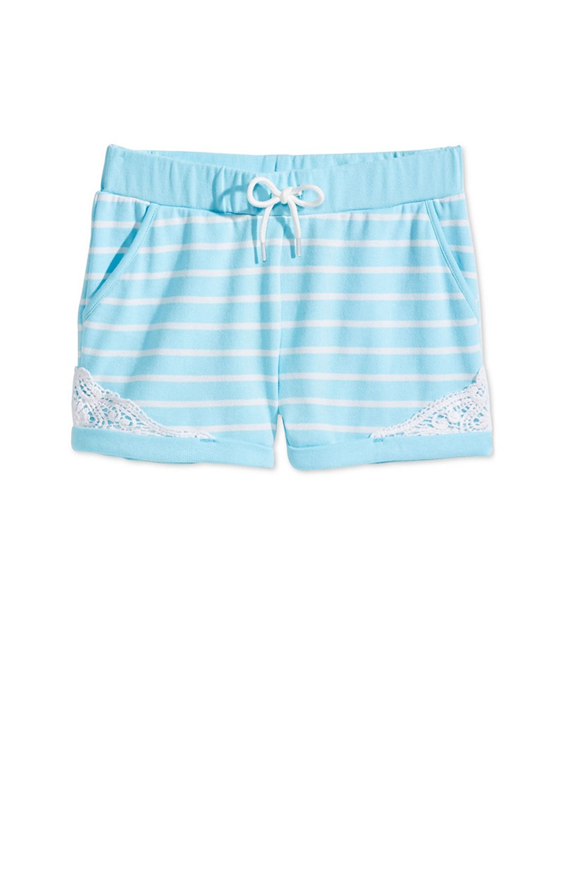 Striped Crochet-Trim Shorts, Aqua Tint