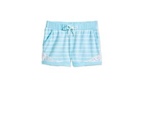 Epic Threads Striped Crochet-Trim Shorts, Aqua Tint